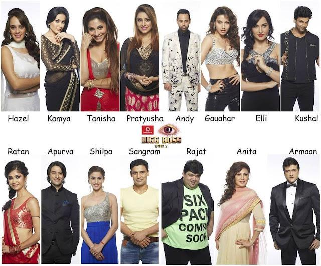 Contestants Of Big Boss 7 Year 2013