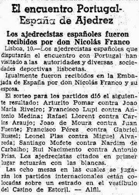 Recorte de La Vanguardia de 11 de marzo 1945 sobre el I Encuentro Ibérico de Ajedrez 1945