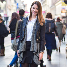 Elegant, stylish daily street style outfit idea, weekend look: pencil skirt, croped jacket and ankle boots, Mia Buljan