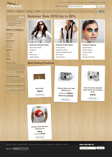 http://www.smashingmagazine.com/2010/08/24/polaroid-a-free-magento-theme-for-your-ecommerce-website/