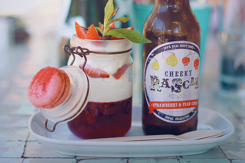 Strawberry, Raspberry and Champagne syllabub with Cheeky Rascal cider!