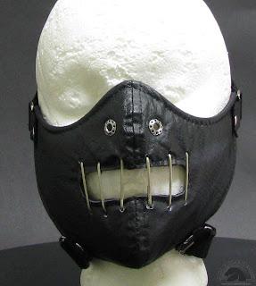 Leather bondage face mask