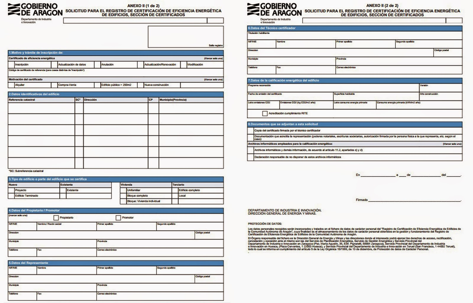 Registro certificado energético Aragón - Anexo II