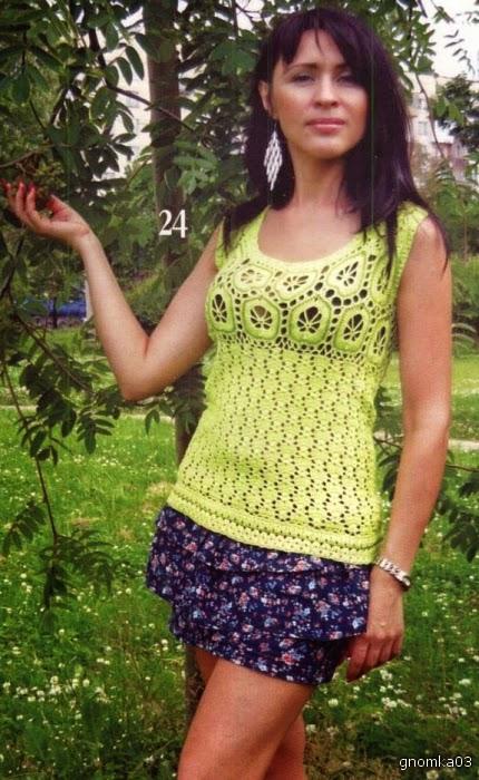 Blusa sin mangas al crochet - con patrones