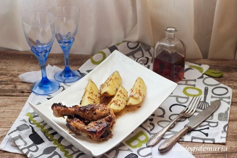 Polla a la mostaza y sirope de agave