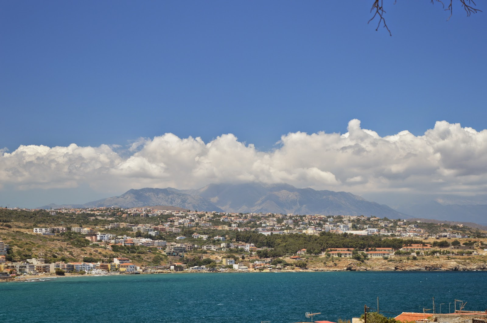 View of  white mountains from Fortezza castle in Rethimno, Crete, Greece.