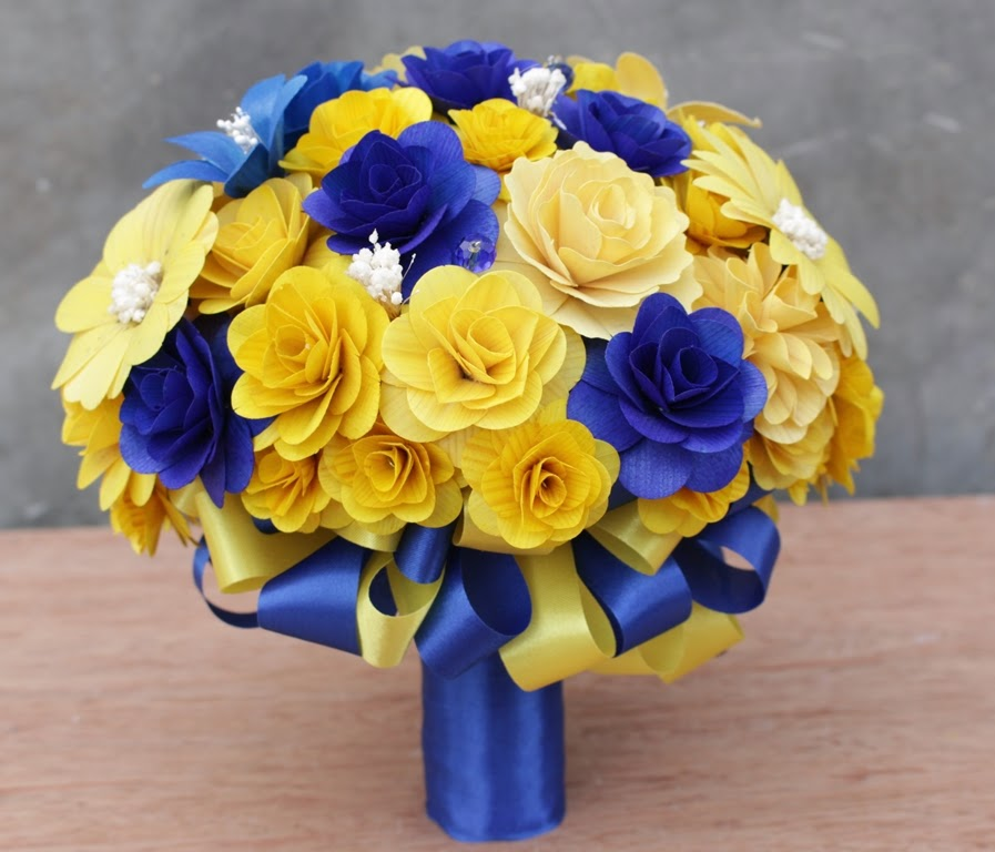 Royal Blue And Yellow Wedding Bouquets Pomanders Corsages And Boutonnieres Made Of Wooden