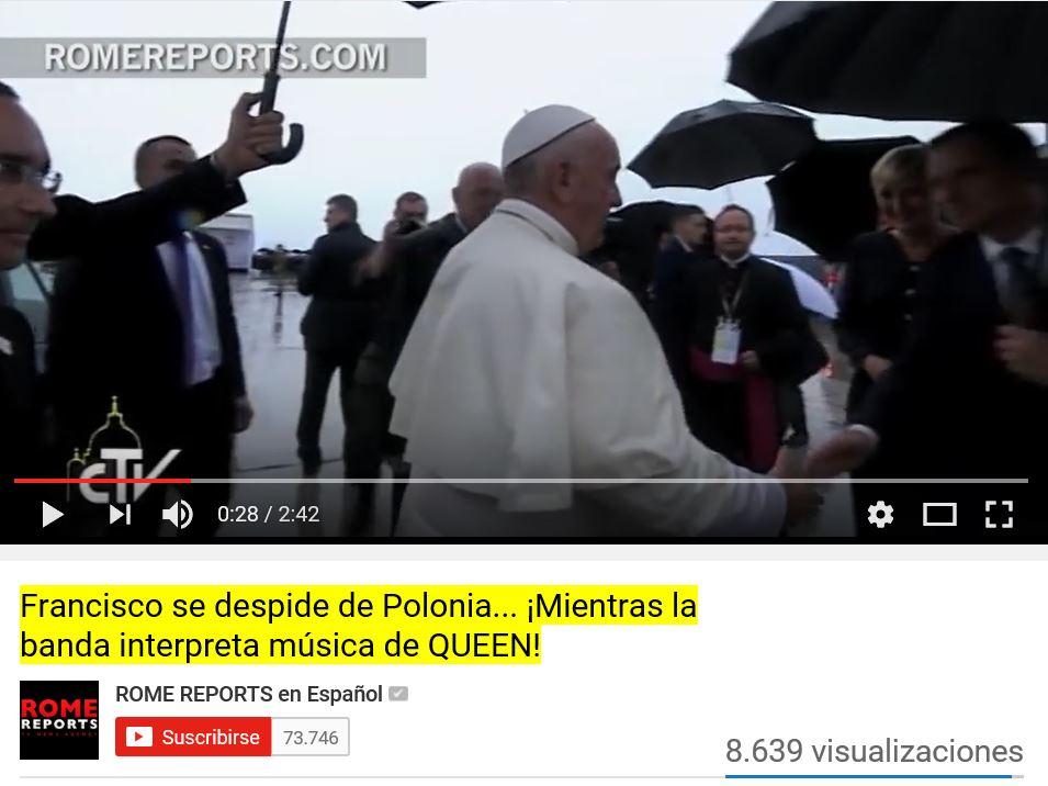 Despidieron a Bergoglio con música rockera satánica de homosexual y Romereports no tuvo reparo.