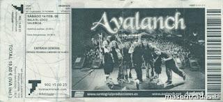 entrada de concierto de avalanch