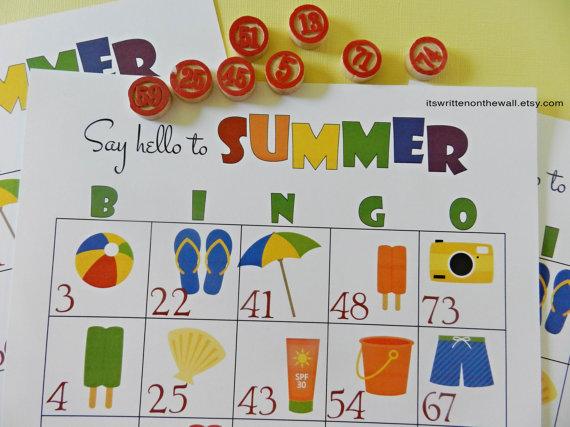 Summer Bingo for Parties and Birthdays