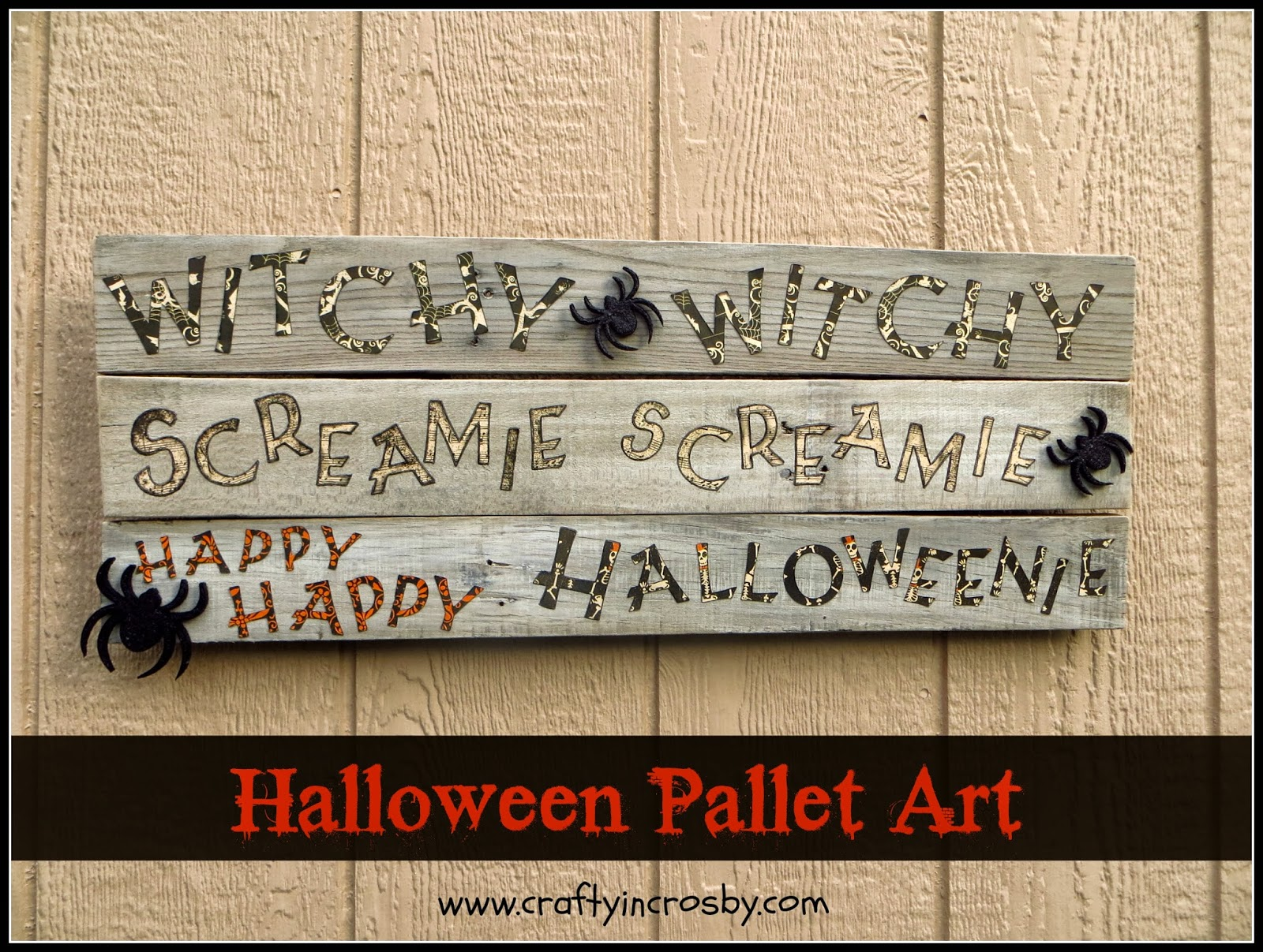 witchie witchie screamie screamie happy happy halloweenie pallet art cricut art halloween sign
