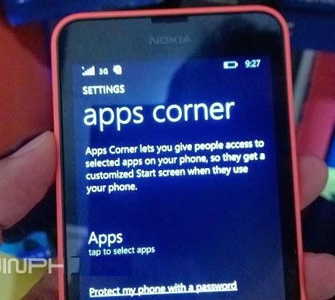 Bagaimana cara keluar dari apps corner???
