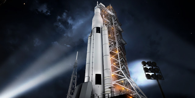Artist concept of the SLS Block 1 configuration. Credits: NASA/MSFC