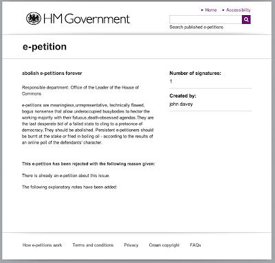 screenshot of e-petition site