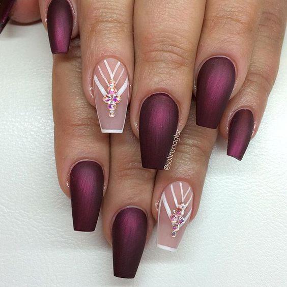 burgundy nail design 2017