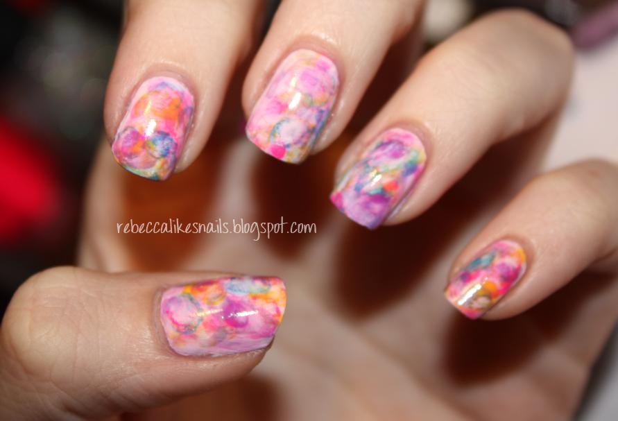 rebecca likes nails: new technique - watercolor nails! + tutorial