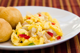 Ackee with salted cod fish and vegetables