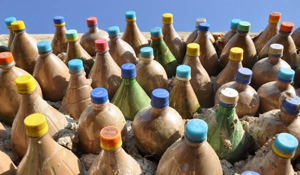 Plastic bottles filled with Sand to use as bricks
