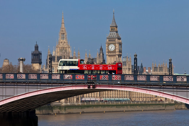 The Original Tour bus crossing the Thames