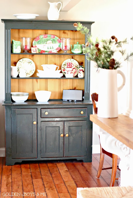 Farmhouse style hutch with pine bead board-www.goldenboysandme.com