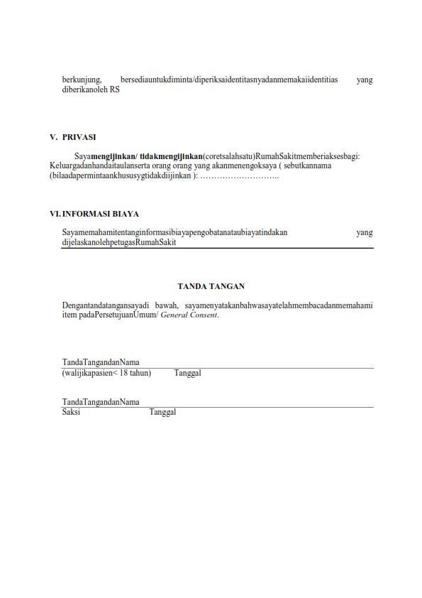 Contoh Form Dokumen Persetujuan General Consent ...