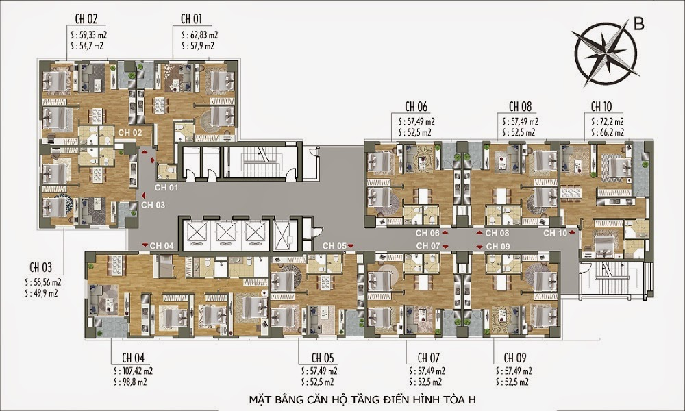 Mặt bằng điển hình tòa H - Tiểu khu Parkview Residence