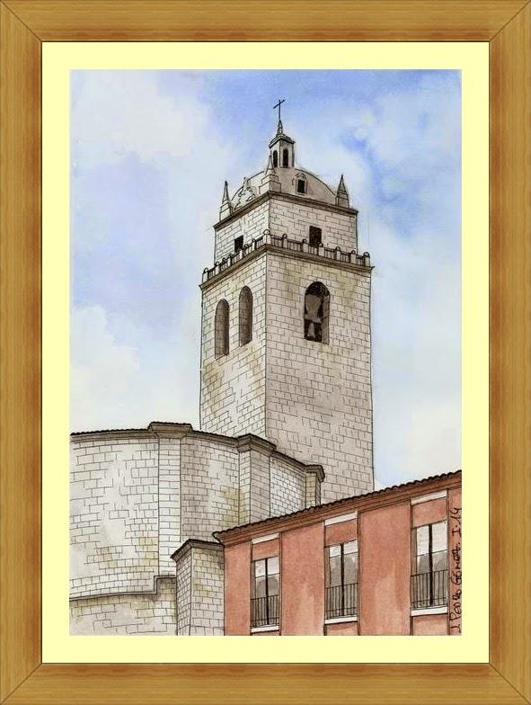 TECNICA MIXTA acuarela pintura plumilla dibujo torre iglesia tordesillas