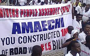 anti amechi protest, anti amechi protesters,gov rotimi amech,port harcourt,rivers state,jet