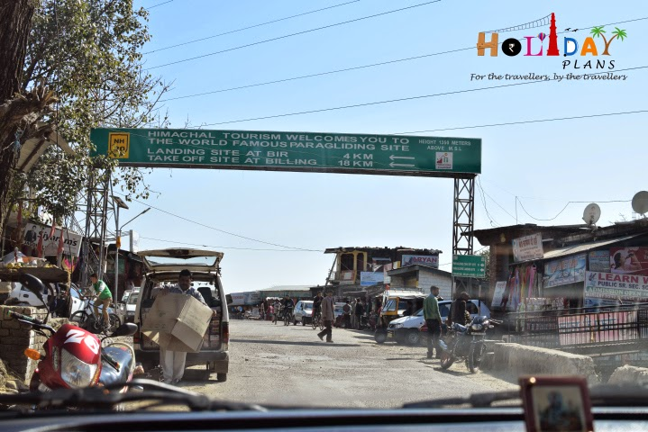 Himachal Tourism welcome board at Bir in Himachal Pradesh