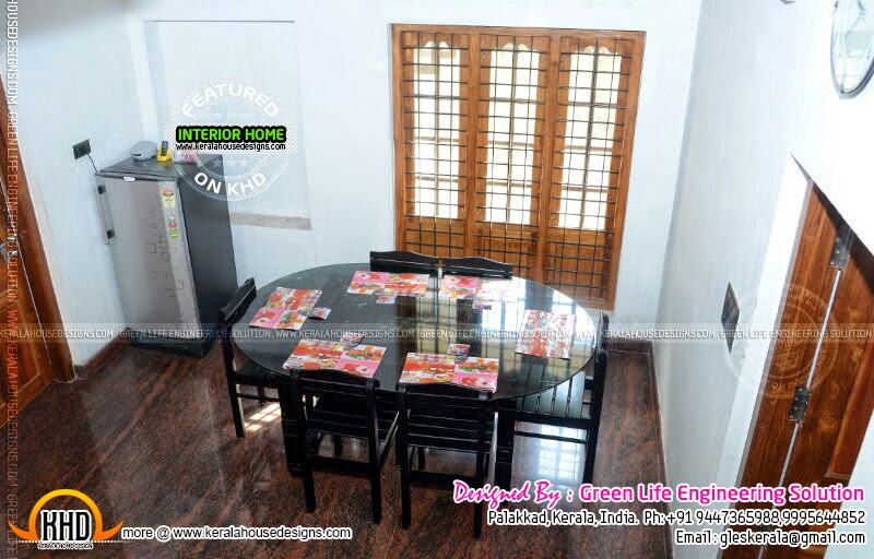 Completed house in palakkad kerala with floor plans for Dining room ideas in kerala