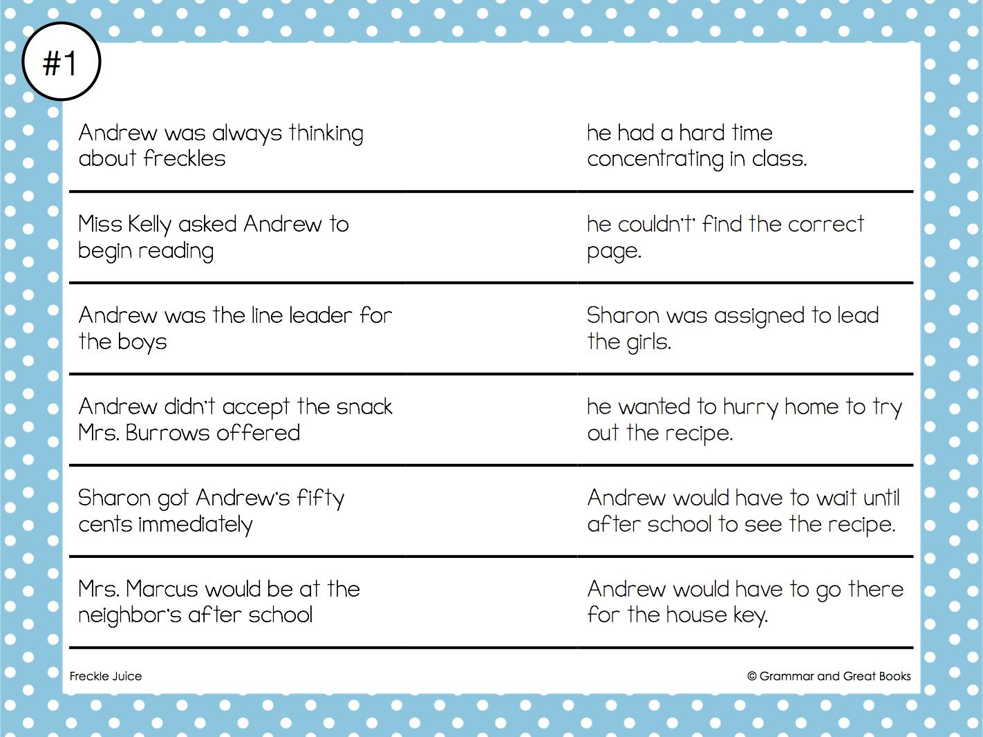 worksheet Freckle Juice Worksheets grammar and great books next introduce the activity mats make sure each group has enough of conjunctions to complete after they finish one mat can pass it