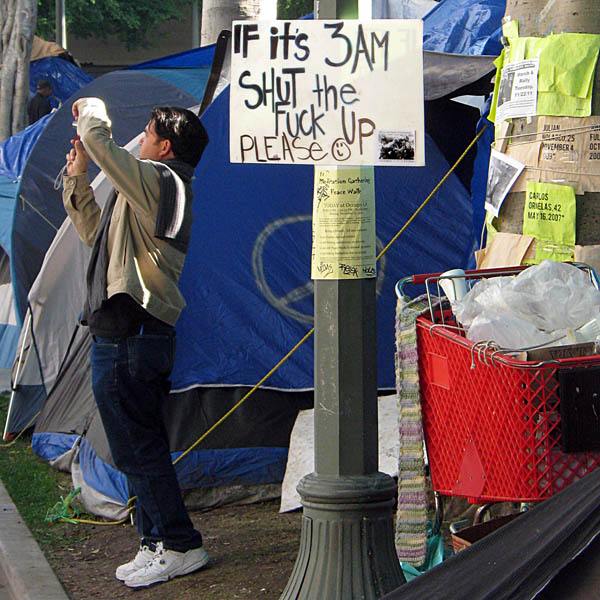 Occupy Los Angeles - sign: If it's 3AM, Shut the Fuck Up Please