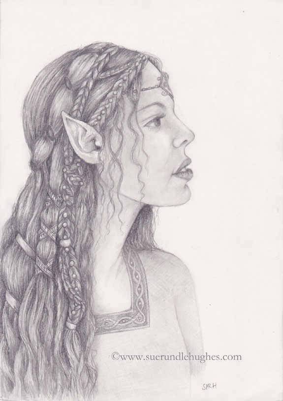 sue rundle hughes illustrator an elf drawing a study of elven hair