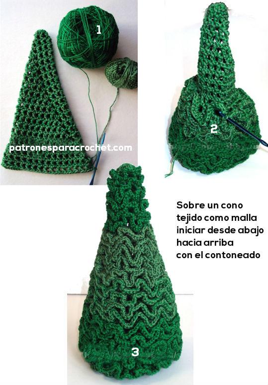 como se teje arbol navideño en crochet contoneado
