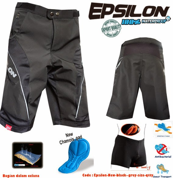 PSILON SHORT   Celana sepeda MTB Epsilon, adalah celana MTB untuk mereka yang membutuhkan kebebasan dalam bersepeda, karena kami menggunakan 8 panel anatomic fit, yang sangat nyaman pada saat dipakai bersepeda. Padding Lexypad yang dapat diatur dan disesuaikan membuat celana ini akan lebih fit, terhadap siapapun yang memakainya. Epsilon kami buat juga  dengan desain OCTOVent yaitu dua  pada bagian depan, serta tambahan dua pada bagian kantung samping yang berfungsi sekaligus sebagai ventilasi tambahan. untuk  memaksimalkan kenyamanan pada saat bersepeda jarak terjauh sekalipun. Dilengkapi dengan 5 kantung, yang 3 diantaranya adalah kantung yang dilengkapi dengan zipper berkwalitas, jadi anda dapat menaruh barang berharga tanpa kawatir  jatuh pada saat bersepeda, atau zipper dapat digunakan sebagai ventilasi tambahan. Kami menggunakan bahan dengan warna hitam yang dilengkapi CoolBlack fabrics, untuk melindungi dari efek buruk sinar UV, Efek buruk sinar UV dapat membuat kulit menjadi rusak, walaupun dalam cuaca yang ber-awan. CoolBlack fabrics sangat nyaman digunakan pada saat matahari dengan cuaca terik ataupun malam hari.      8 panel liner short for freedom of movement     7 maximum ventilation + 2 extra zipp on Vent pocket     5 Pocket :  2 Hand pockets, 2 zipp leg pockets and 1 zipp iPhone Pocket     Left and Right rear HipsPad for your extra safety when crash     Double Adjustment pad for your fit comfort posisition.     New Development Lexypad. Extra wide for your Extra miles     CoolBlack Fabric UV Protector     Fully sewning seams reduce weight and friction     Colours: Black matte     40% Nylon & 60% Spandex (Inner)     material  90% Orchsporetex & 10% Polyester (Outer 4)     Hard wearing, multi-fabric construction with large stretch seat and rear panels  What is Lexypad? Lexytex  pad is the ideal solution for the demanding long distance cyclist, and performance MTB rider. The thicker profile of the support layer makes this pad more comfort for your long bicycle activity and therefore extremely well suited to challenging, long days in the saddle Lexytex pads is the latest edition of the 3D Pads takes it one step further, with the introduction of Lexytex Extra Wide Simple Top-layer Technology, in bicycle pant and short. Lexytex latest generation of pads is equipped with a three point preasure and perforated bottom layer, which is better at discharging perspiration and is 25% more comfort, without taking anything away from the main support component. This pad is so finished with an anti-friction microfiber antibacterial chamois  top layer for extra miles. Epsilon Shorts Care Instructions it's important your Epsilon don't ruin them by washing them incorrectly. To wash your Epsilon shorts you can put them on a cold gentle cycle with similar coloured garments so your shorts aren't discoloured. When drying them you can either lay them flat or tumble dry them on a low setting and remove them promptly. If necessary you can use non-chlorine bleach to remove any stains and it's important you do not iron these shorts.