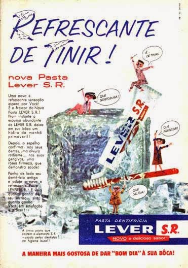 Propaganda da Pasta Dentifrícia Lever nos anos 50.