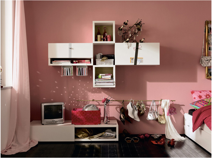 modern girl room spaces love how they hung the shoes very clever - Modern Girl Bedroom Ideas