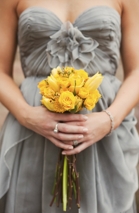 Yellow And Gray Wedding Bridesmaid Dresses 53