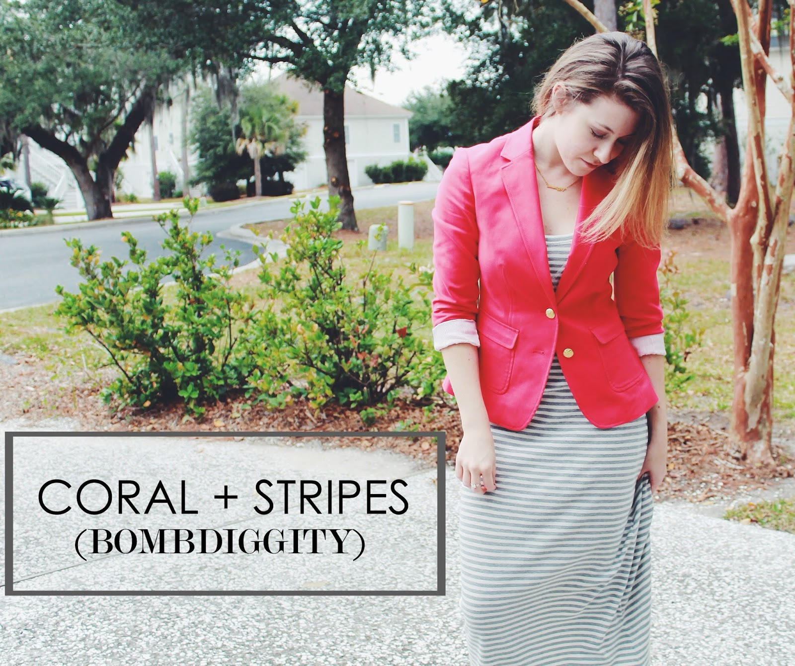 WHAT I WORE: CORAL + STRIPES (BOMBDIGGITY)