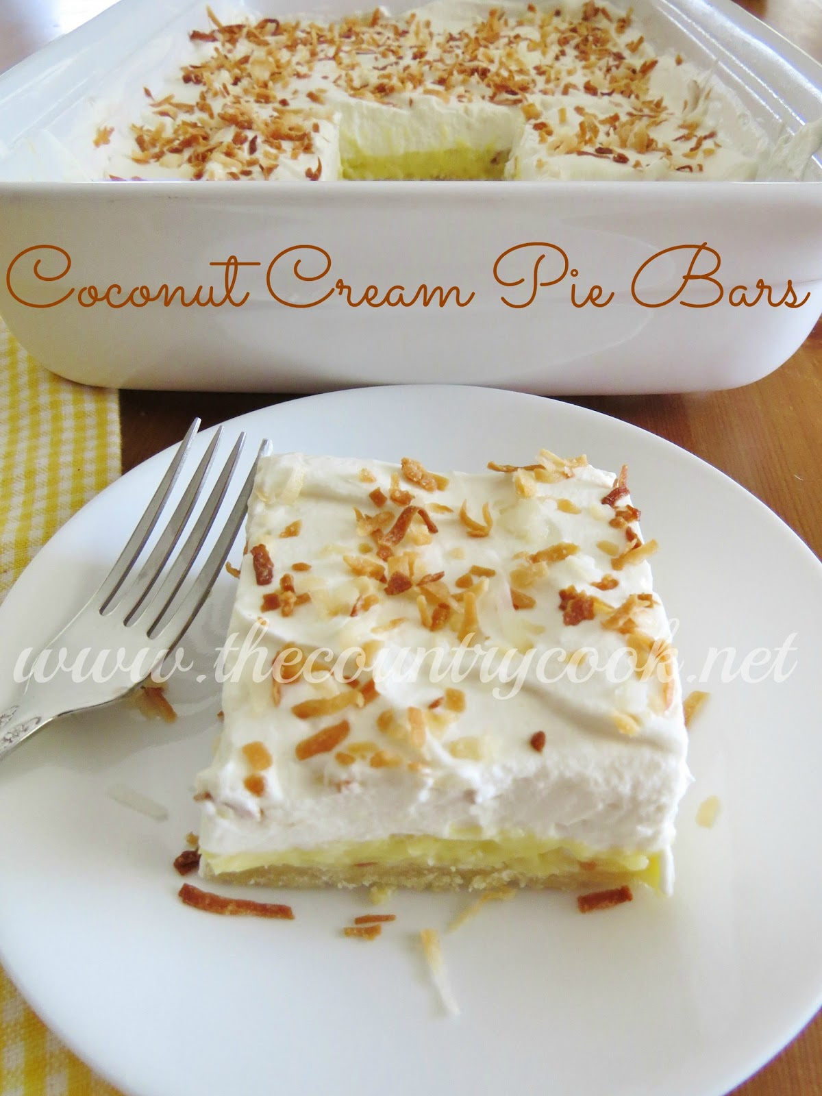 The Country Cook: Coconut Cream Pie Bars