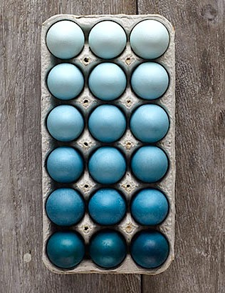 Blue ombre dyed Easter eggs color fade
