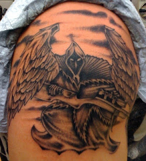Death tattoo: Angel of Death portrayed as a sniper