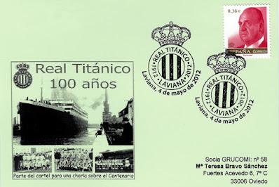 Real Titánico, Laviana, matasellos, tarjeta