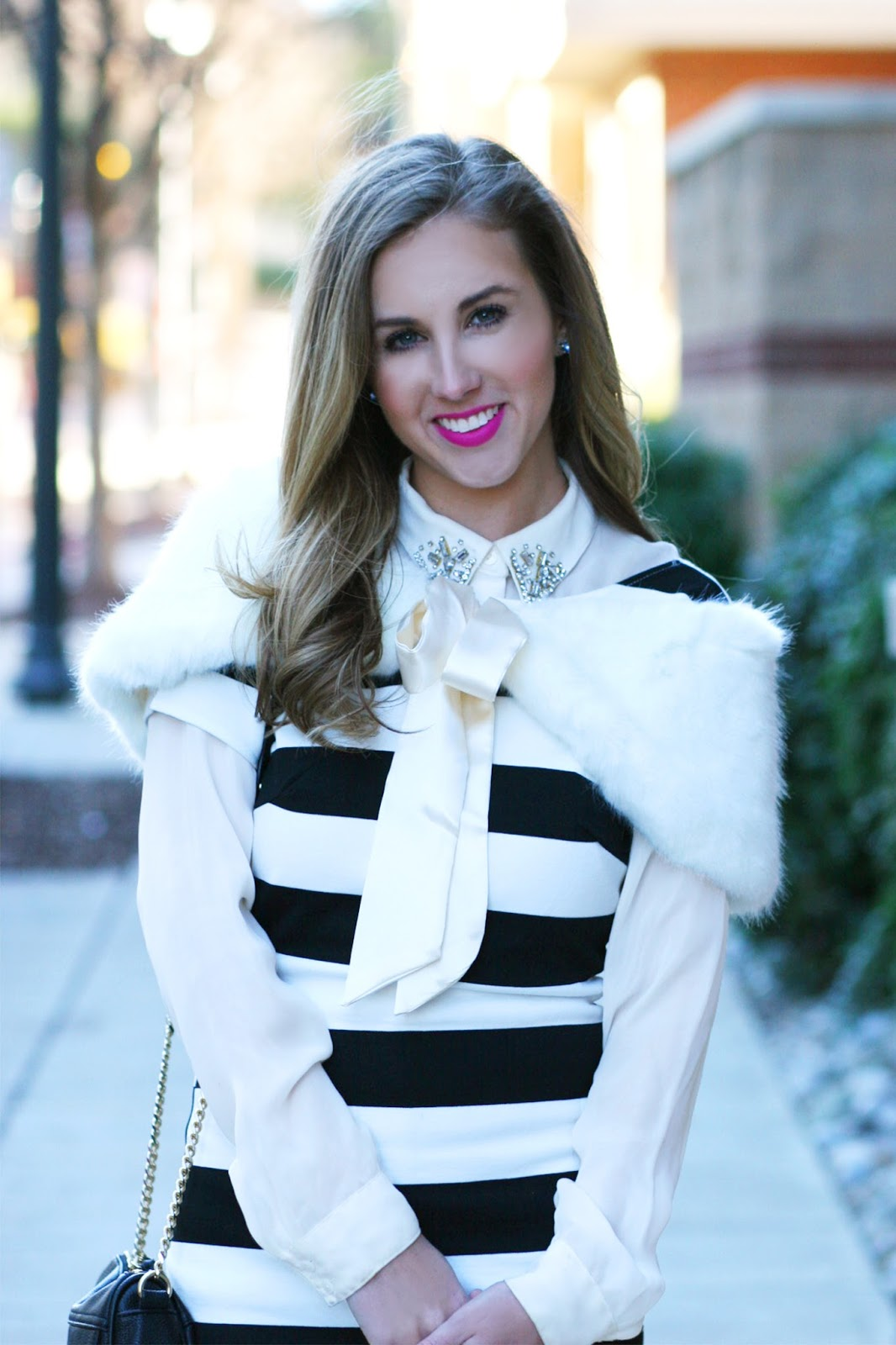 Perfect-winter-layers-embellished-collar-fur-midi-dress-street-style