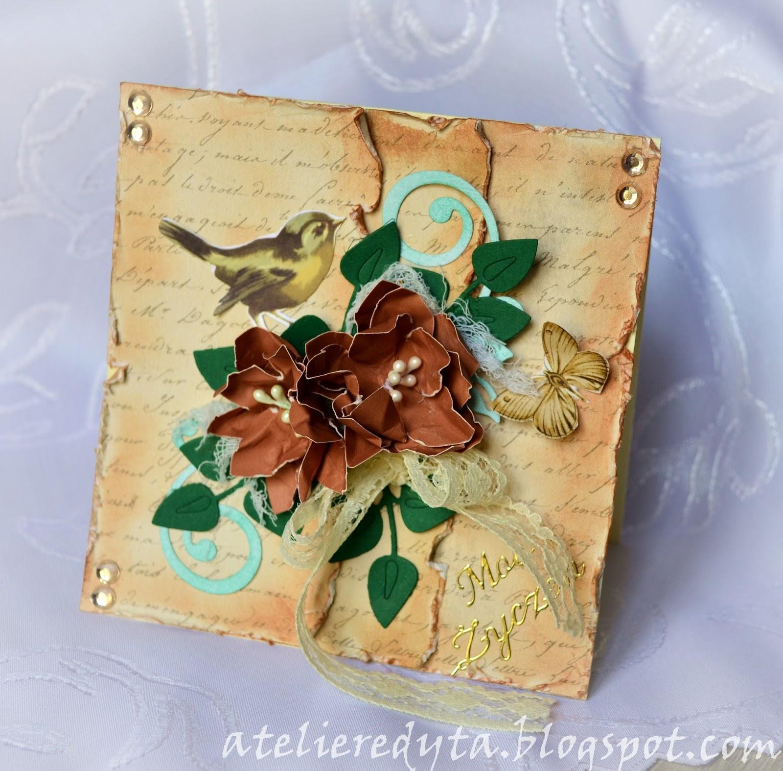 Scrapbooking kartka z ptaszkiem