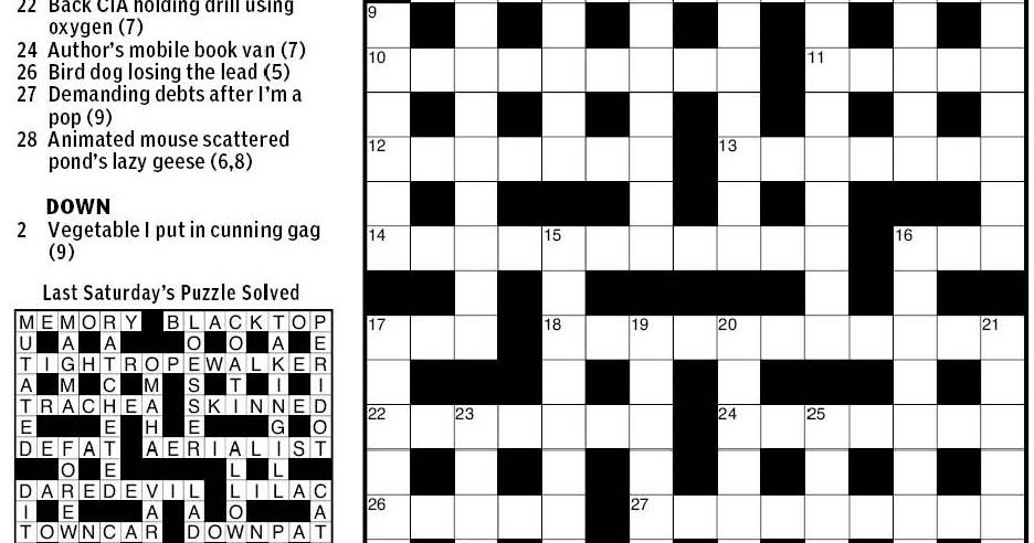 Cryptic Crossword Initial Letters