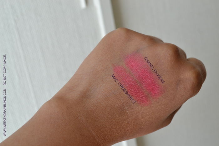 Chanel Makeup Rouge Allure Luminous Intense Pink Coral Lipstick Enjouee Indian Beauty Blog Reviews Ingredients Swatches FOTD Looks Darker Skin MAC Crosswires Dupe Affordable