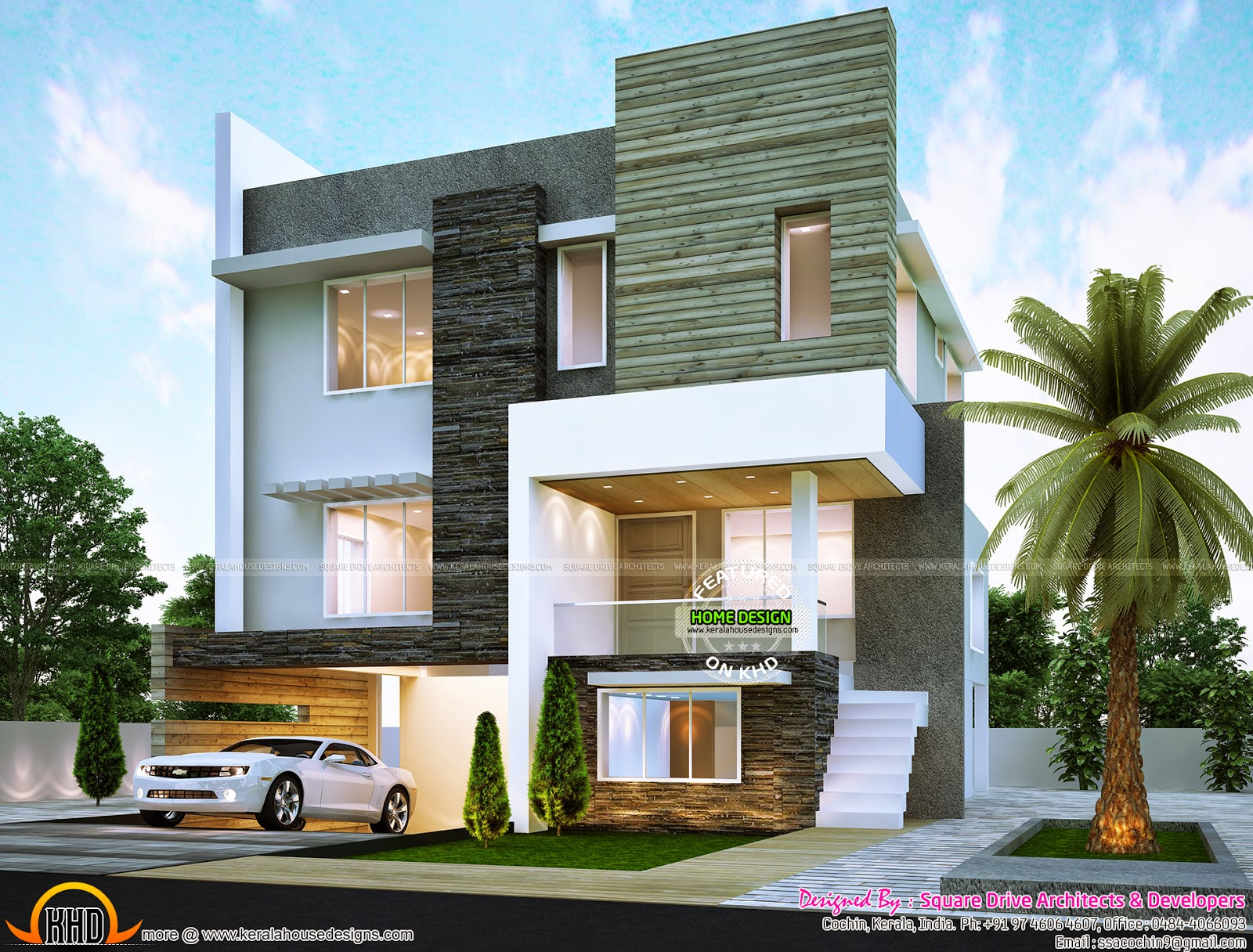 Contemporary home exterior kerala home design and floor for Contemporary home exterior