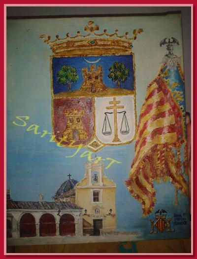 ermita de San Roc, escudo dew Burjassot y Senyera de Valencia, oleo sobre lienzo