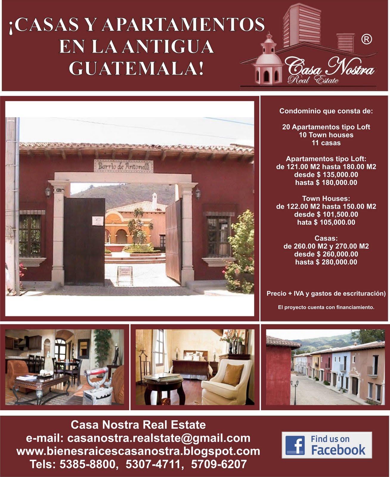 Casa nostra real estate barrio antonelli la antigua guatemala - Precios de internet para casa ...